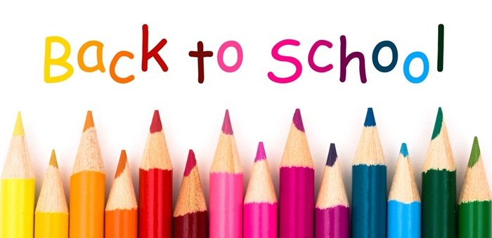 Colorful pencil crayons on a white background, Back to school